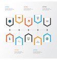 trade icons flat style set with analytics vector image vector image