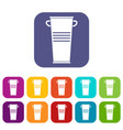trash can with handles icons set flat vector image vector image