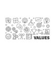 values concept horizontal outline banner vector image vector image