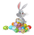 white easter bunny and chocolate eggs vector image vector image