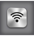 Wi-fi icon - metal app button vector image