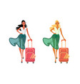 women in summer clothes with travel bag vector image vector image