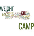 youth activities weight loss camp text background vector image vector image