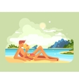 Man and woman on beach vector image