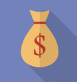 Money bag with dollar sign icon Modern Flat style vector image