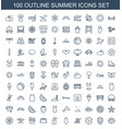 100 summer icons vector image vector image