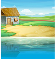 A house near the river vector image vector image