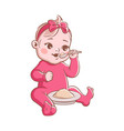 bagirl eating cute newborn and healthy vector image vector image