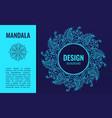 banner with elegant blue mandala on dark blue vector image vector image