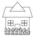 beautiful house building with fence vector image
