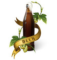beer bottle with hops ribbon and lettering vector image