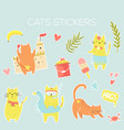 big set icons stickers funny summer cats vector image vector image