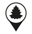 black and white christmas tree market map sign vector image vector image