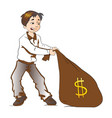 boy pulling a sack of money vector image vector image