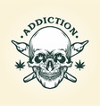 cannabis skull addiction weed joints vector image vector image