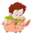 cartoon veterinarian and pig vector image