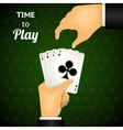 Cartooned Hand Holding Four Aces Cards vector image vector image