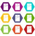 chocolate icon set color hexahedron vector image vector image