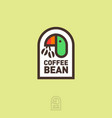 coffee logo parrot holds coffee beans vector image vector image