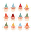cute set gnomes with different vector image vector image