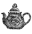 decorative silhouette teapot vector image