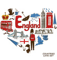 English symbols in heart shape concept vector image vector image