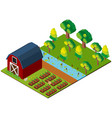 farm scene with barn and crops in 3d design vector image