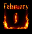 first february in calendar of fire icon on black vector image vector image