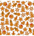 gingerbreads on dark red background vector image vector image