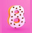 glazed donut font number 8 number eight cake vector image vector image