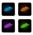 glowing neon ufo flying spaceship and alien icon vector image