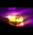 glowing triangle geometric shapes in dark vector image