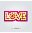 gold inscription love with glowing lamps vector image