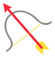 grey bow and red arrow with yellow feathers on vector image vector image