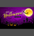 happy halloween banner purple background vector image vector image