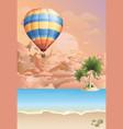 hot air balloon at dawn vector image vector image