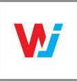 initial wj letter logo vector image vector image