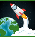launcher rocket with earth planet vector image vector image