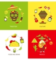 Mexico flat icons set vector image vector image