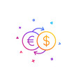 money exchange line icon banking currency vector image vector image