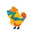 Orange Cat in a Raincoat Hugs Fish vector image