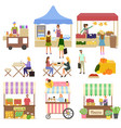 people buying products on marketplace fair vector image vector image