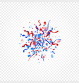 red and blue color scattered confetti and ribbons vector image vector image
