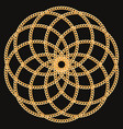 round pattern made with golden chains on black vector image vector image