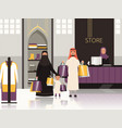 saudi in market arabic family checkout in grocery vector image