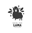 save the lama logo design protection of wild vector image