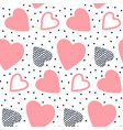seamless pattern with hand drawn hearts sweet vector image vector image