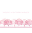 seamless row of cherry blossom trees in full bloom vector image vector image