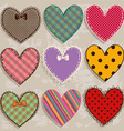 set isolated scrapbook heart icons vector image