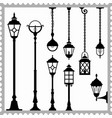 set lanterns silhouettes vector image vector image
